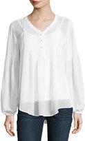 Joan Vass Long-Sleeve V-Neck Pintuck Blouse, White