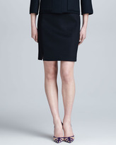 Ralph Rucci Cashmere Pencil Skirt, Black