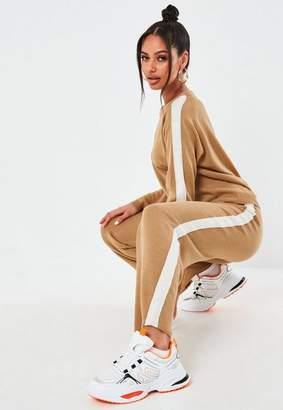 Missguided Camel Side Stripe Knit Sweater And Pants Co Ord Set