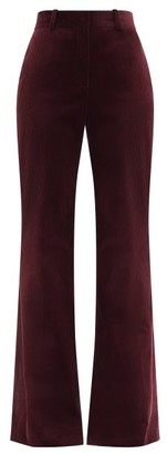Bella Freud David High-rise Cotton-corduroy Wide-leg Trousers - Burgundy