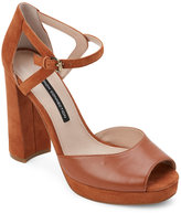 French Connection Casa Brown Dita Peep Toe Chunky Heel Platform Sandals