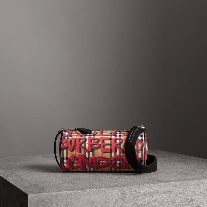 Burberry The Small Graffiti Print Vintage Check Barrel Bag