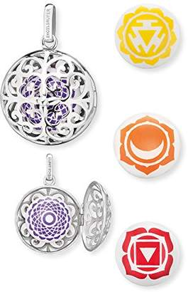 Engelsrufer Women's 925 Sterling Silver Purple Pendant with Four Changeable Sound Lenses Crown, Solarplexus, Sacral and Root Chakra