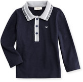 Armani Junior Long-Sleeve Stretch Pique Polo Shirt, Navy, Size 12M-3