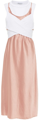 alexanderwang.t Layered Crossover Jersey And Crinkled-satin Dress