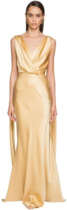 Alberta Ferretti Draped Stretch Satin Long Dress