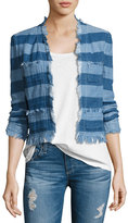 AG Jeans Capucine Striped Open-Front Denim Jacket, Blue