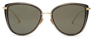 Linda Farrow Liza Butterfly-frame Acetate Sunglasses - Black Gold