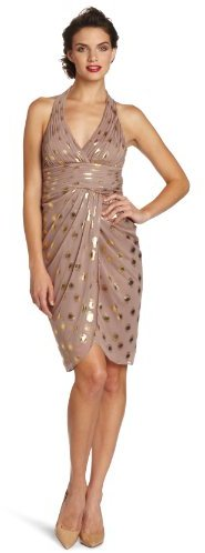 Adrianna Papell Women's Metallic Dot Halter Dress