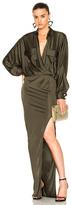 Alexandre Vauthier Shiny Jersey Long Sleeve Maxi Dress in Green.