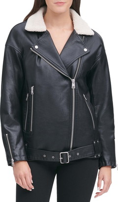 Levi's Water Repellent Faux Leather & Faux Shearling Collar Jacket