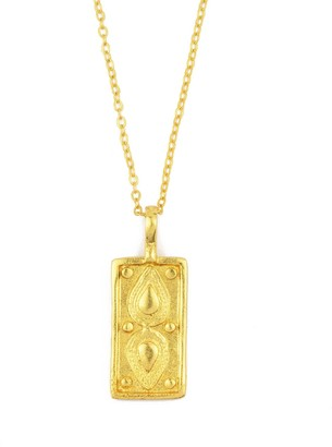 Ottoman Hands Tyche Engraved Gold Rectangle Necklace