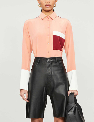 Chinti and Parker Spread-collar loose-fit silk shirt