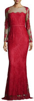 Marchesa Long-Sleeve Lace Column Gown, Red