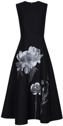 Valentino floral crepe couture midi dress
