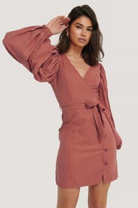 NA-KD Puff Sleeve Tie Waist Dress