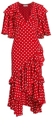 Michael Kors Polka Dot Ruffle Silk Dress