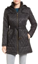 Vince Camuto Women's Belted Mixed Quilted Coat With Detachable Hood