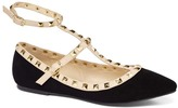 Wild Diva Black Studded Ankle-Strap Pippa Flat