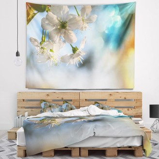 Design Art Designart 'White Blossoming Cherry Tree' Floral Wall Tapestry