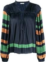Ulla Johnson striped sleeves pleated peasant blouse