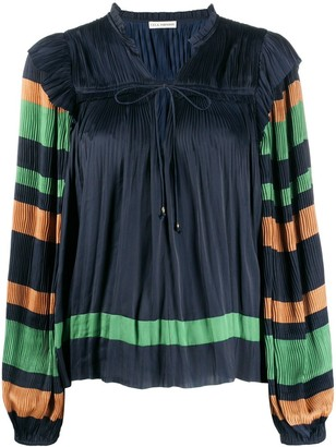 Ulla Johnson Striped Sleeves Pleated Peasant Blouse