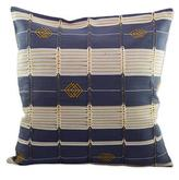 Embroidered Cotton Cushion Cover Gunmetal and Ivory, 'Necta Geometry'