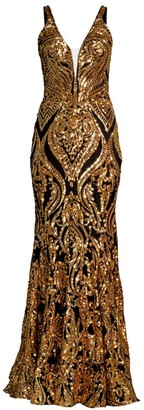 Jovani Patterned Metallic Gown