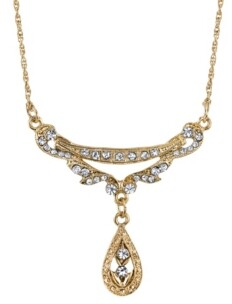 """Downton Abbey Gold-Tone Crystal Edwardian Swag Shaped Collar Necklace 16"""" Adjustable"""