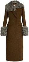 Christopher Kane Detachable-trim double-breasted wool-blend coat