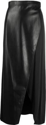 Áeron Faux Leather And Satin Maxi Skirt