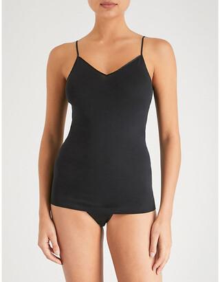 Hanro Women's Black Seamless Cotton Camisole, Size: M