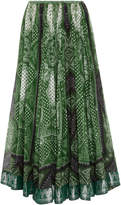 Etro Printed A-Line Cotton and Silk-Blend Skirt