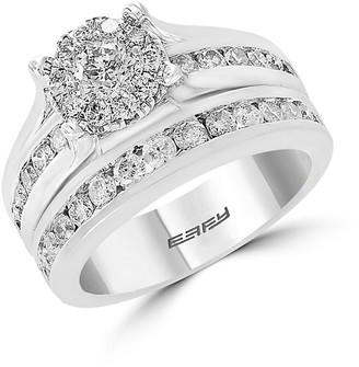 Effy 14K White Gold Diamond 2-Piece Engagement Ring Wedding Band Set
