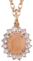Irene Neuwirth Oval Rose Cut Peach Moonstone and Rose de France Charm