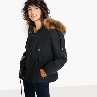 La Redoute Collections Short Parka with Faux Fur Hood