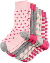Neiman Marcus Four-Pack Wardrobe Sock Set, Assorted Pink