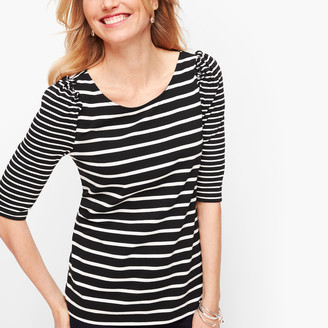 Talbots Ruched Sleeve Stripe Tee