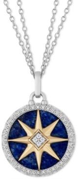 "Tokens by Hallmark Diamonds Lapis Lazuli & Diamond (1/4 ct. t.w.) Star of Joy pendant in Sterling Silver & 14k Gold, 16"" + 2"" extender"
