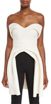 Brandon Maxwell Strapless Sweetheart-Neck Bustier Top, Ivory