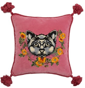 Gucci Cat-embroidered Velvet Cushion - Pink Multi