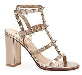 Valentino Women's Garavani Rockstud Metallic Leather Cage Sandals