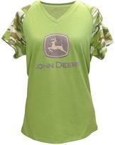 John Deere Green Camo Glitter V-Neck Raglan Tee - Plus Too