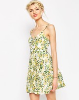 ASOS COLLECTION ASOS Sheer And Solid Pleated Mini Dress in Yellow Floral