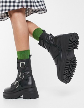 ASOS DESIGN Alex premium leather chunky buckle boots in black