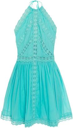Charo Ruiz Ibiza Kim Crocheted Lace-trimmed Cotton-blend Voile Halterneck Mini Dress