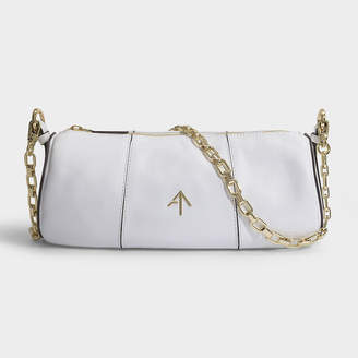 Most Wanted Design by Carlos Souza Manu Atelier Cylinder Bag In White Soft Calf Leather