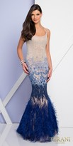 Terani Couture Dazzling Ombre Feather Embellished Mermaid Evening Dress