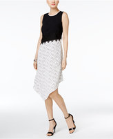 Alfani PRIMA Asymmetrical Contrast Dress, Created for Macy's