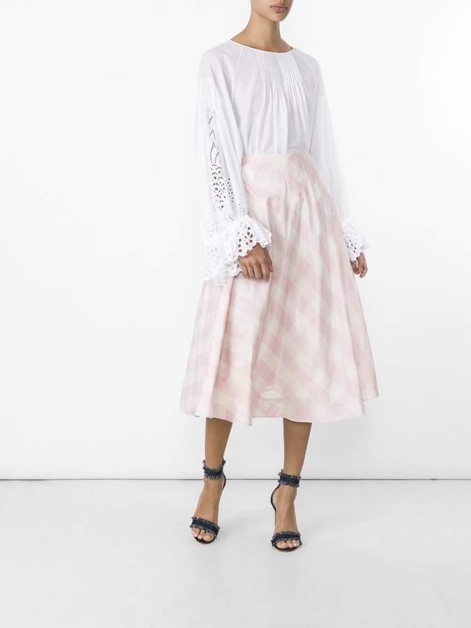 Valentino Checked silk-taffeta a-line midi skirt